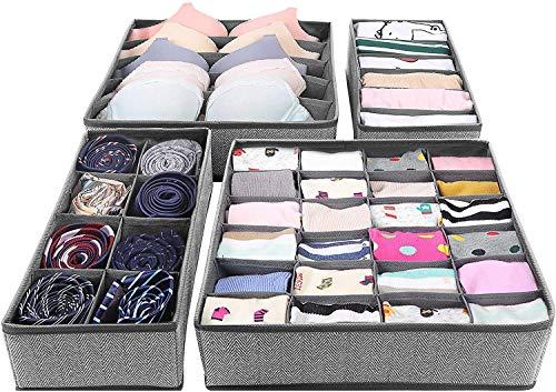 AVNICUD Aufbewahrungsbox 4er Set, Schubladen Ordnungssystem für Unterwäsche und Socken, Kleiderschrank Organizer zum Aufbewahren von Schals Büstenhalter Krawatten Faltbox
