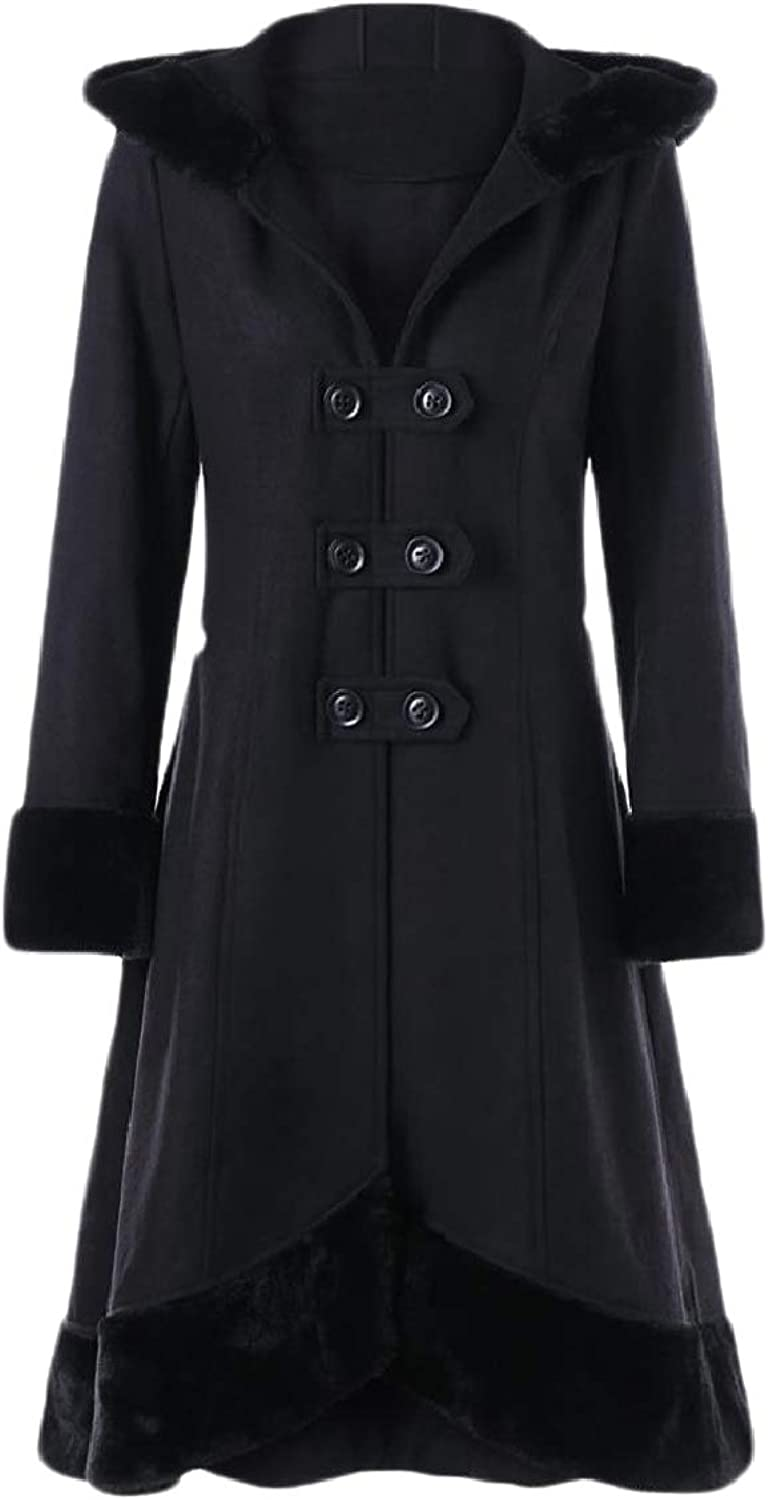 Baseby Womens Cincher Slim Faux Fur Lapel Thin Hooded Jacket Trench Coat