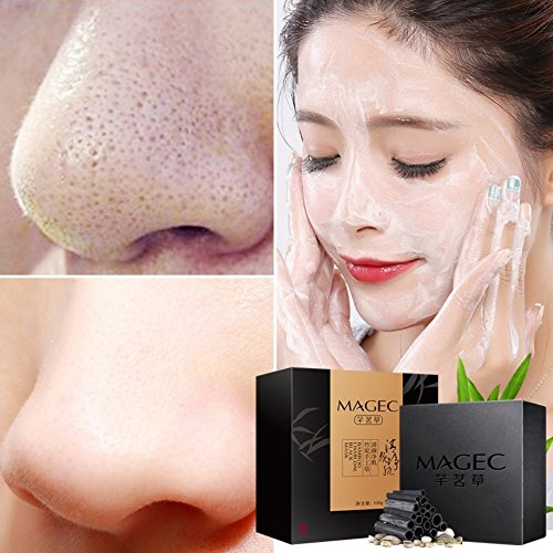 Allbesta Savon au Charbon de Bambou Blackhead Remover Traitement de l'acné Blanchiment des cheveux de visage de lavage de soin