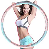 kekafu 6 Section Weighted Hoola Hoop Detachable Hoola Hoops for Adults Weight Loss Professional Soft Fitness Hoola Hoop for Beginners Exercise Fitness Workout Color Pink