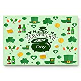 DaringOne Happy St. Patrick's Day Felt Doormat, Indoor Outdoor 20' x 32' Waterproof Mat, Non Slip Washable Mud Dirt Trapper Mats Rugs for Entrance, Cartoon Leprechaun Hat Shamrocks Irish Flag