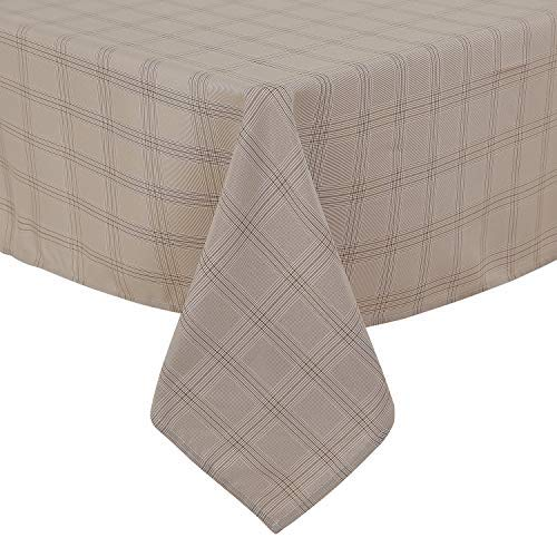Deconovo, tafelkleed, linnenlook, waterafstotend, eetkamer, polyester, taupe wit, 130 x 280
