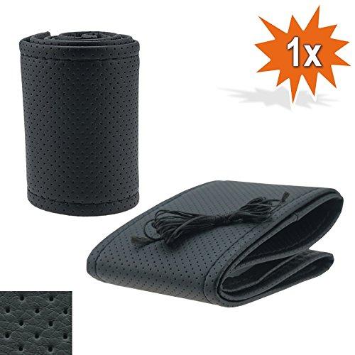 Housse de volant universelle antidérapante - Noire - Avec coutures noires - Perforée - Diamètre : 35-36 cm