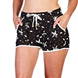 INDERO Women and Junior's Ultra Soft Fashion Print Active Shorts with Pockets Cute Short Pants - Black Unicorn S M