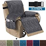 H.VERSAILTEX Recliner Sofa Slipcover Slip Resistant Quilted Velvet Plush Recliner Cover Furniture Protector Seat Width Up to 28' Couch Shield 2' Elastic Straps (Recliner, Grey)
