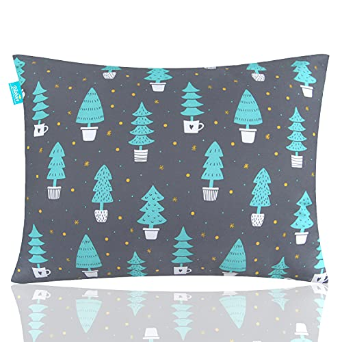 """Toddler Pillow for Kids, Kid Pillow for Sleeping 14"""" x 19"""", Forest Print and No Pillowcase Needed, Machine Washable for Daycare,Travel, Crib and Toddler Bed Pillow for Boys and Girls, Black"""