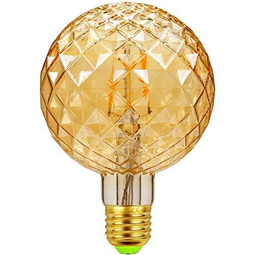 Tianfan LED-Glühlampe, Retro-Leuchtmittel, 4 W, 220/240 V, E27, dekorative Glühlampe, G95 Kristall Antik Goldene Tönung
