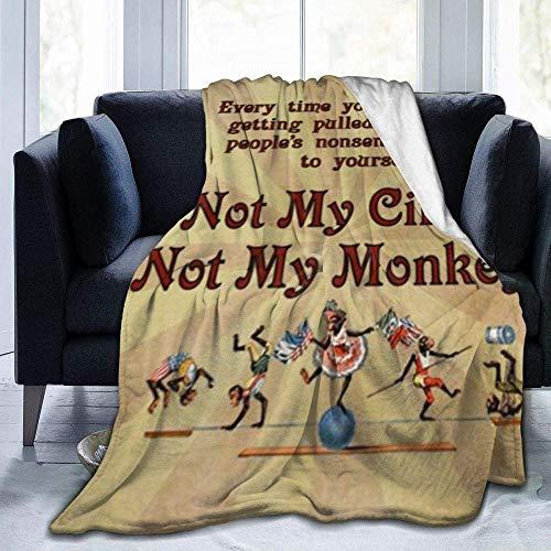 HDAXIA Decke Kuscheldecke,Gedicht Magine Circus Monkeys Rechteck Non-Skip Printed Ultra-Soft Flanell Warm Cosy Leichte Plüschdecke Throw Fit Couch Bett Sofa Stuhl 80