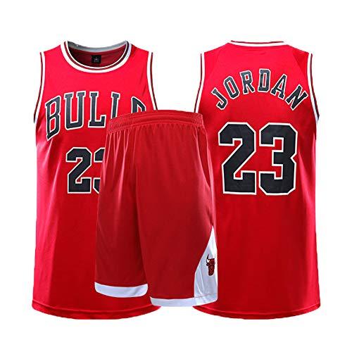 MSDL Michael Jordan Herren Basketball Jersey-Chicago Bulls 23# 2-teiliges Basketball Performance Tank Top und Shorts Set Basketball Trainingsanzug (XS-5XL)-red-4XL(180.185CM)