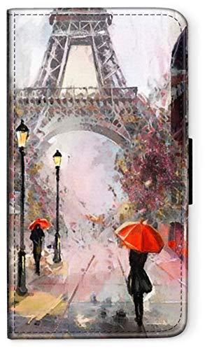 blitzversand Flip Hülle Watercolour Paris Aquarell kompatibel für Samsung Galaxy A5 2016 roter Regenschirm Eifelturm Handy Hülle Leder Tasche Klapphülle Brieftasche Etui r& um Schutz Wallet M7