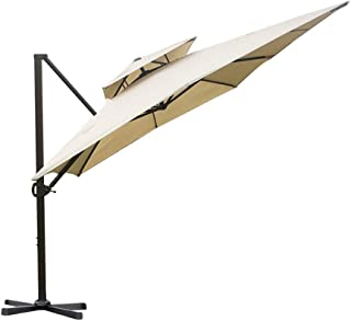 Abba Patio 9 by 12-Feet Rectangular Offset Cantilever Umbrella Dual Wind Vent Patio Hanging Umbrella with Cross Base, Beige