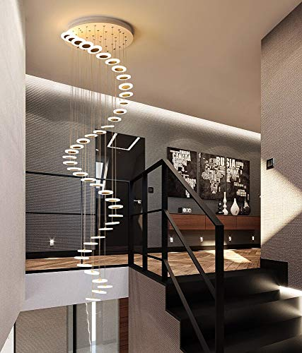 Treppen Flur Pendelleuchte Rund Decke Hängelampe Moderne Kreative LED Warmweiß Wohnzimmer Esszimmer Hängende Lampe...