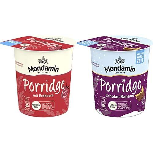 Mondamin Porridge mit Erdbeere für unterwegs vegetarisch, 8 x 70 g + Mondamin Porridge Schoko-Banane Becher, 8er Pack (8 x 65 g)