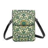 Mini bolsa de teléfono celular Crossbody cartera patchwork elementos decorativos vintage bolsas de hombro con cinturón ajustable, color Amarillo, talla Talla única