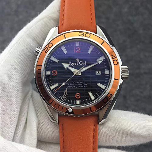 CWTCHY Hombres de la Marca Automático Mecánico Buceo Azul Naranja Negro Acero Inoxidable Zafiro Relojes deCuero Cuero Naranja