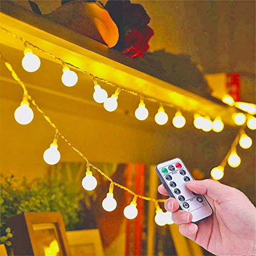 Battery Fairy Lights - Blub Fairy Lights with 8 Lighting Modes 5M 50 Warm White Waterproof Battery Operated Fairy Light for Indoor Outdoor Party Living Room Bedroom Garden [Energy Class A++]