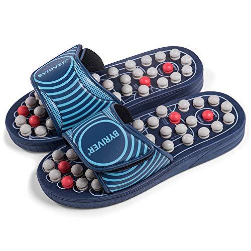 BYRIVER Reflexology Foot Massager Tools, Acupressure Massage Slippers Shoes Sandals Mat Stress Relief Gifts for Men Women, Relieve Plantar Fasciitis Heel Arch Arthritis Neuropathy Pain (05M)