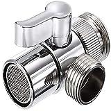 Polished Chrome Brass Sink Valve Diverter Faucet Splitter for Kitchen,Handheld Showerhead or Bathroom Sink Faucet Replacement Part Faucet to Hose Adapter Splitter Part M22 X M24