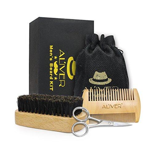 Cuidado de Barba Kit - Cepillo Para Barba, Peine Para Barba, Tijeras Para Barba - Juego de regalo perfecto para hombres
