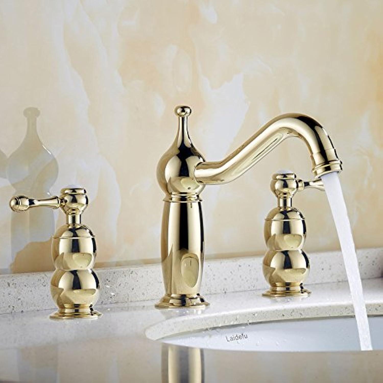 Bijjaladeva Wasserhahn Bad Wasserfall Mischbatterie Waschbecken WaschtischAntik Messing-verdoppeln Sie die Drei Lcher in der Warmen und Kalten Wasser Waschtisch Armatur Gold