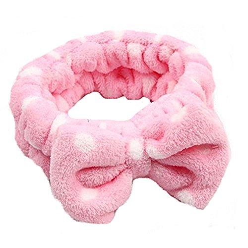 HENGSONG Bowknot Stirnband Haarband Haar Wrap für Make-up Gesichtsreinigung Gesichtspflege (Rosa)