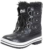 Womens Snow Boot Nylon Short Winter Snow Rain Warm Waterproof Boots - Black