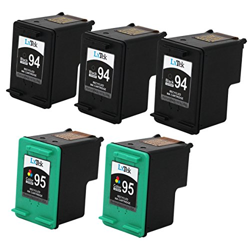 LxTek Remanufactured Ink Cartridge Replacement For HP 94 & HP 95 (3 Black | 2 Tri-Color) C8765WN C8766WN