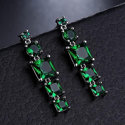 yuge Pendientes largos de plata de ley 925, mujeres con esmeraldas verdes, partido de las señoras, joyería de plata verde