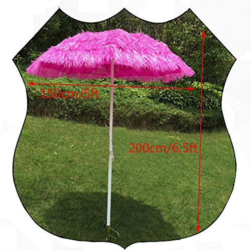 LYBC Thatch Ombrellone da Giardino,150cm Hawaiano Stile Ombrellone da Spiaggia,Finta Paglia Ombrellone,Facile da installare(Rosa)