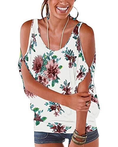 YOINS Bluse Damen Kurzarm Schulterfrei Oberteil Damen Off Shoulder Top Sommer Carmen Shirt Blumenmuster Floral-weiß S