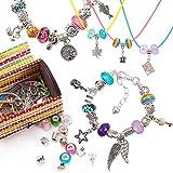 Firtink - Juego de pulsera de abalorios y joyas para hacer manualidades, con perla plateada