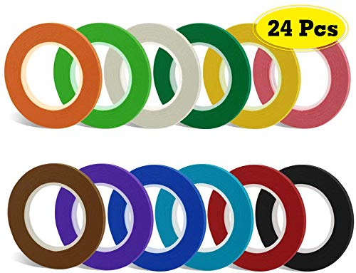JPSOR 24 Rolls 1/8 Inches Thin Tape, Whiteboard Gridding Tape, Violin Tape, Dry Erase Graphic Art Tape, Grid Marking Tape, Masking Tape, 12 Colors