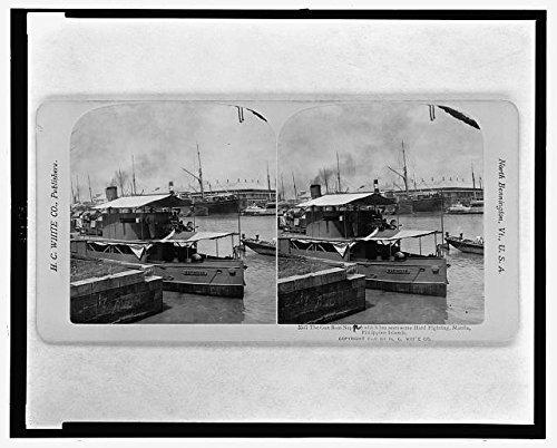 Foto: reproducción, pistola barco, napindan, Manila, c1901América de Filipinas, Guerra, Dock. Tamaño: 8x 10(