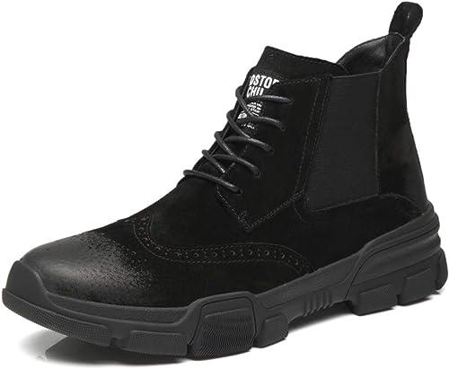 BND-chaussures , Bottes de Combat de Style Brogue pour Hommes à Lacets, Chaussures de Travail Militaires Durable; Supporter l'usure (Couleur   Noir, Taille   46 EU)