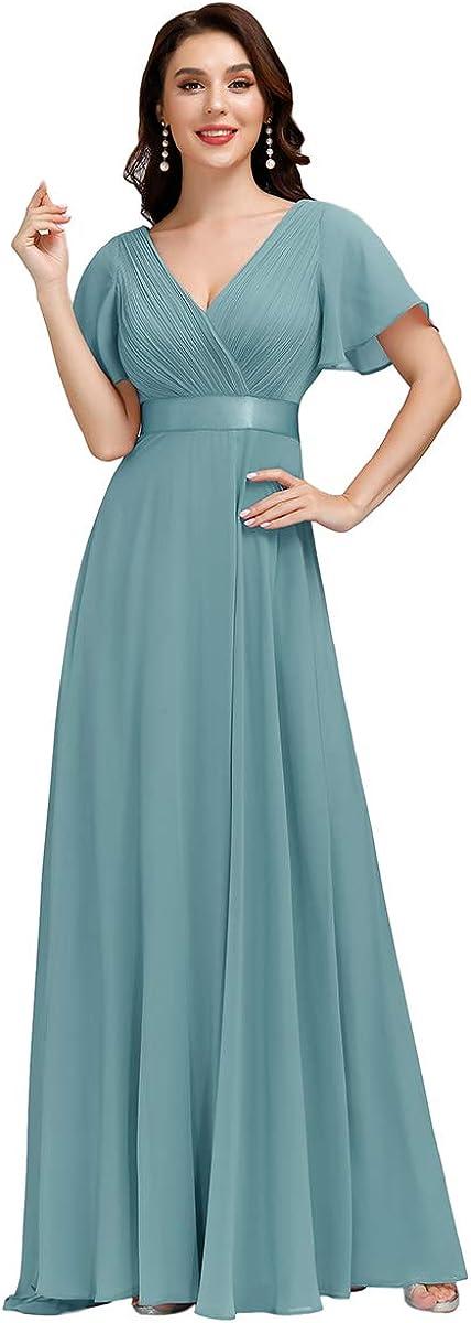 Vintage Evening Dresses, Vintage Formal Dresses Ever-Pretty Womens Short Sleeve V-Neck Long Evening Dress 09890  AT vintagedancer.com