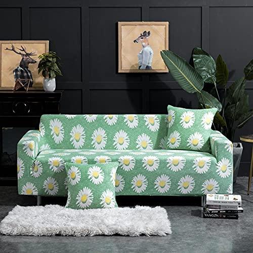 AHKGGM Funda Sofa Elástica 3 Plazas Flores Verdes y Blancas 190-230 cm