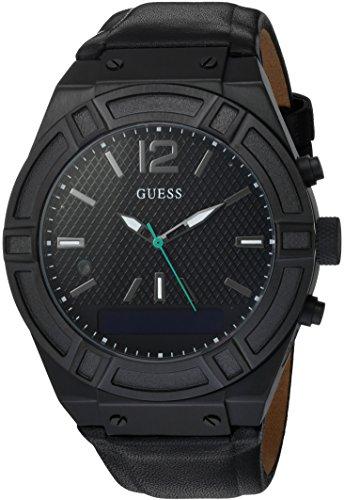 Guess Herren Analog-Digital Quarz Uhr mit Leder Armband C0001G5