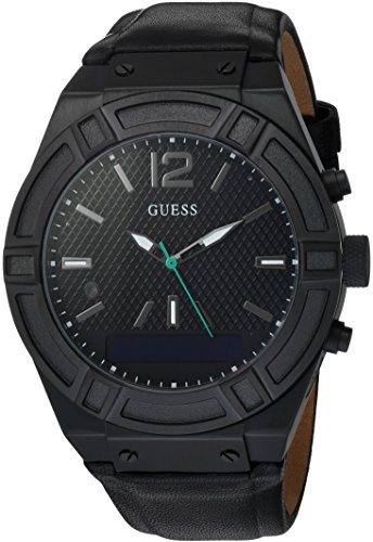 GUESS Men's Stainless Steel Connect Smart Watch - Amazon Alexa, iOS and Android Compatible, Color: Black (Model: C0001G5)
