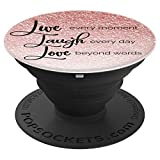 Live Laugh Love - Silver and Rose Gold Bling - PopSockets Grip and Stand for Phones and Tablets