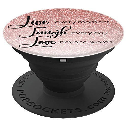 Live Laugh Love - Silver and Rose Gold Bling PopSockets Grip and Stand for Phones and Tablets