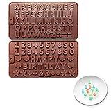 Stampo per caramelle e cubetti di ghiaccio, antiaderente, riutilizzabile, in silicone, con lettere e numeri, per cioccolatini morbidi, gelati, crostate, muffin, candele, saponi, gelatina, mousse