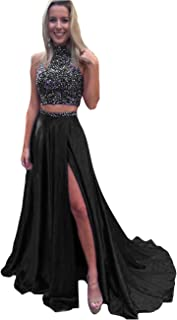 HONGFUYU Gorgeous A-Line High Neck Lace Prom Dress Beading Evening Gown