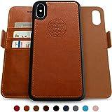 Dreem Fibonacci 2in1 Handyhülle Flipcase für iPhone X/Xs | Magnetisches iPhone Case | TPU Etui Lederhülle Schutzhülle, RFID Schutz, Veganes Kunstleder, Geschenkbox | Karamellbraun