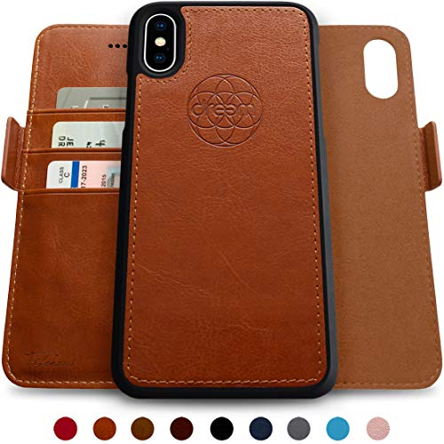 Dreem Fibonacci 2-in-1 Wallet-Case for iPhone Xs Max, Magnetic Detachable Shock-Proof TPU Slim-Case, RFID Protection, 2-Way Stand, Luxury Vegan Leather, Gift-Box - Caramel