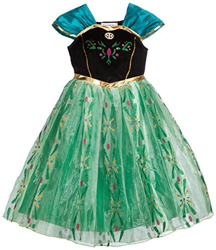 Reine De Glace Princesse Anna Inspiré Couronnement Robe De Jour Costume Déguisement Fille - translation, original, 10 Ans, Vert