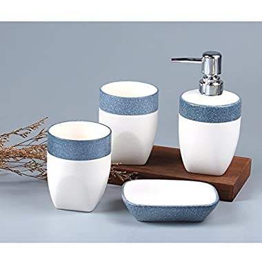 DecentGadget 4 Pieces Classic Ceramic Bathroom Accessories Set With Two Toothbrush Holder Cups/Lotion Dispenser/Soap Dish (blue)