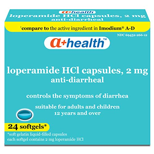 A+Health Loperamide Hcl 2 Mg Softgels, Anti-Diarrheal, Made in USA, 24 Count