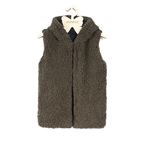 YSTWLKJ Mädchen Fellweste Winerjacke Kapuze Parka Coat Outwear Übergangsjacke Wärmejacke Mantel