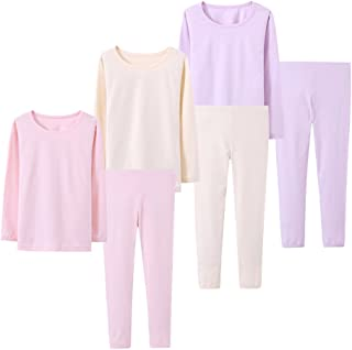 Abalacoco Big Girls Boys 3 Sets (6pcs) Cotton Longs sleeve Undershirts Autumn Winter Thermal Underwear Pants Suit 4-10T