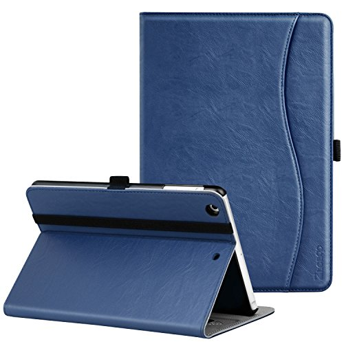 Ztotop iPad Mini 1/2/3 Case, Leather Folio Stand Protective Case Smart Cover with Multi-Angle Viewing, Pocket, Functional Elastic Strap for iPad Mini 3/ Mini 2/ Mini 1 - Navy Blue